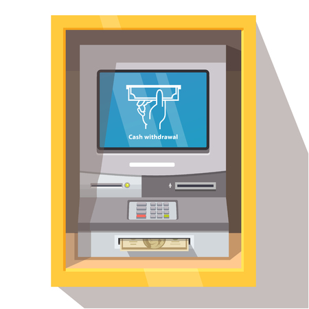 Street ATM teller machine with current operation icon on the screen and dollar banknotes sticking out of a slot. Hand taking banknote pictogram. Flat style vector illustration. Illustration