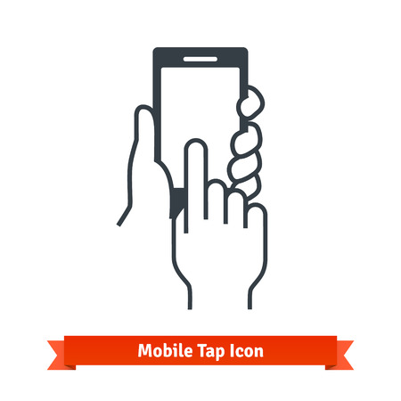 holding smart phone: Hands holding, touching, tapping or scrolling black phone blank screen. Vector icon.
