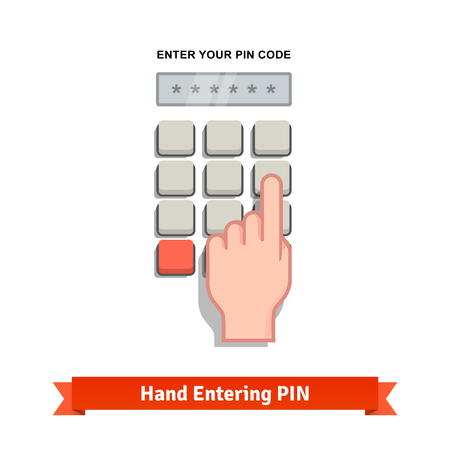 enter button: Hand finger entering with PIN code combination or password on a keypad. Flat style vector icon.