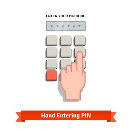klawiatura: Ręka palec wchodzi z kombinacji kodu PIN lub hasła na klawiaturze. Płaski ikona stylu vector.