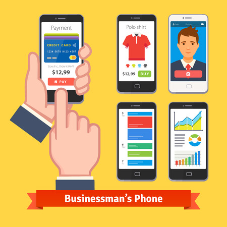 businessman phone: Businessman holding and finger tapping his phone payment app. Set of useful applications on phone screens. Flat style vector icons. Illustration