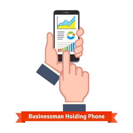scroll: Business man hands holding phone and scrolling through live online sales statistics. Flat vector icon.