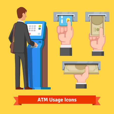 cash machine: Businessman using modern ATM machine. Money deposit and withdrawal. Hands holding cash and credit card vector icons set.