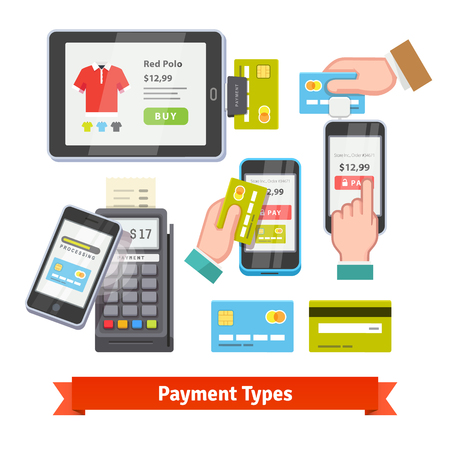tarjeta de credito: Icono de pago móvil configurado. Wireless pagando con POS y el teléfono inteligente. Manos humanas que sostienen las tarjetas de crédito. Vector estilo Flat.