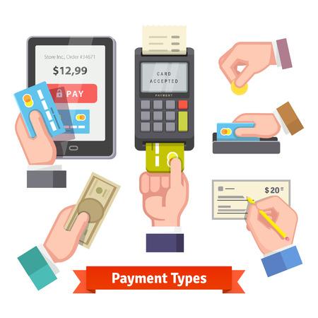 Icono de pago establecido. Manos humanas que sostienen las tarjetas de crédito, dinero en efectivo, moneda, emisión de cheques, que paguen con POS. Vector de estilo plano. Foto de archivo - 49506236