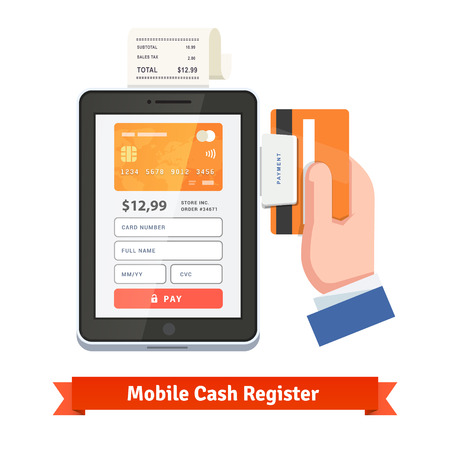 Mobile payment concept. Human hand swiping credit card on tablet dongle and printing receipt. Flat style vector icon.