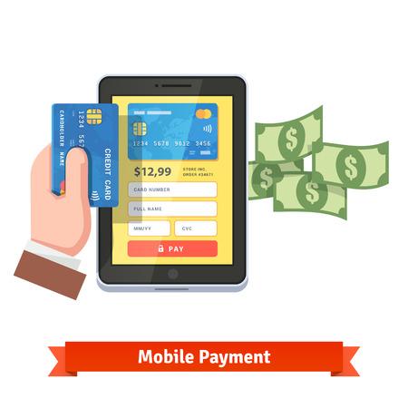 tarjeta de credito: concepto de pago por móvil. La mano humana que sostiene la tarjeta de crédito a través del ordenador tableta con que volaba de dólares. estilo del icono del vector plana.