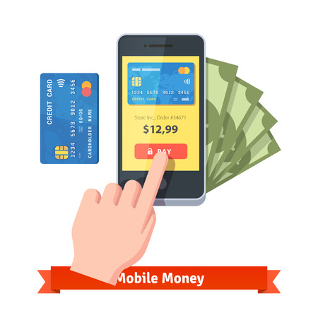 human finger: Mobile payments concept. Human hand finger pressing pay button on a smartphone with running payment app. Flat style vector icon.