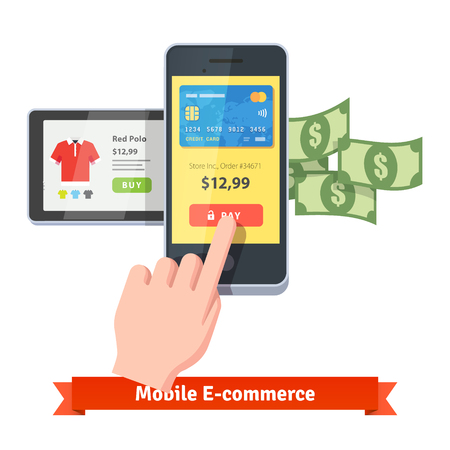 Las compras en línea y el concepto de pago por móvil. dedo de la mano humana que presiona el botón de pago en un teléfono inteligente con el funcionamiento de la aplicación de pago y algo de dinero volando fuera. estilo del icono del vector plana. Foto de archivo - 49506275