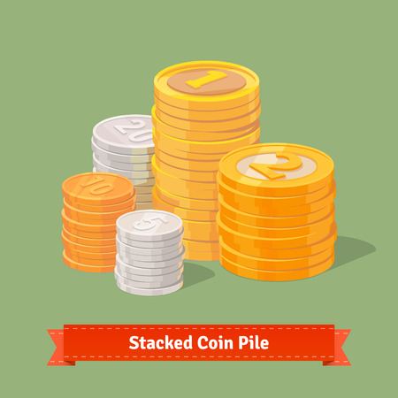 gold and silver coins: Stacked pile of coins. Gold, silver and copper. Flat style vector icons. Illustration