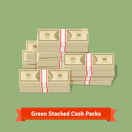 pile of cash: Big stacked pile of cash. Hundreds of dollars. Flat style isometric vector illustration.