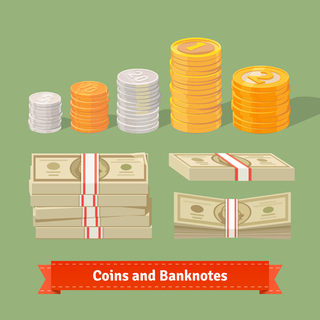 gold and silver coins: Stacked pile of coins and banknots. Flat style illustration or icon. EPS 10 vector.