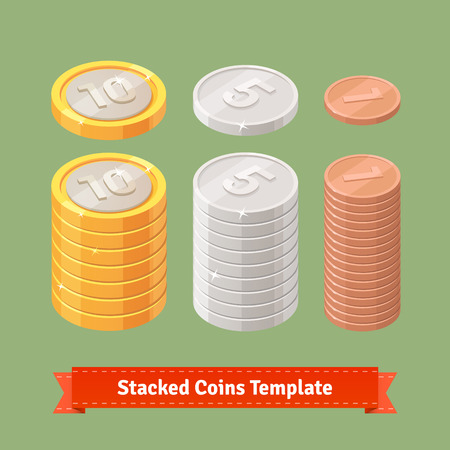 stack of coins: Gold, silver and copper stacked coins. You can easily assemble coin stacks with this template. Flat style icons.