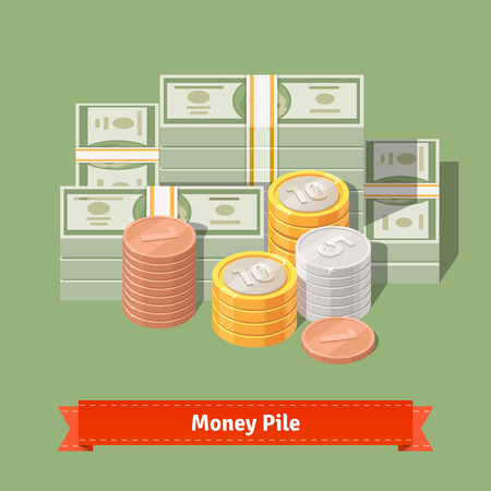 talks: Big stacked pile of cash. Hundreds of dollars and some coins. Money talks concept. Flat style vector illustration. Illustration