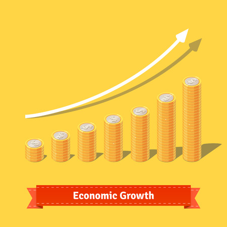 golden coins: Stacked coins growth chart. Rising revenue concept. Flat style vector illustration. Illustration