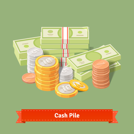 cash: Stacked pile of coins and banknots. Flat style illustration or icon. EPS 10 vector.