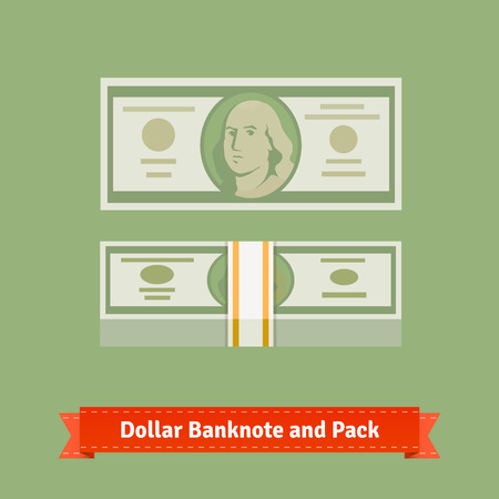 dollar bill: Hundred dollars banknote and money pack with strap. Flat style vector icons.