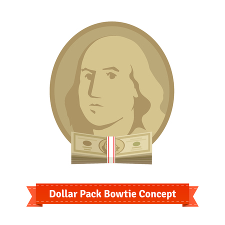 to tie: Franklin with dollar pack bow tie. Us dollar economy concept. Flat style icon.
