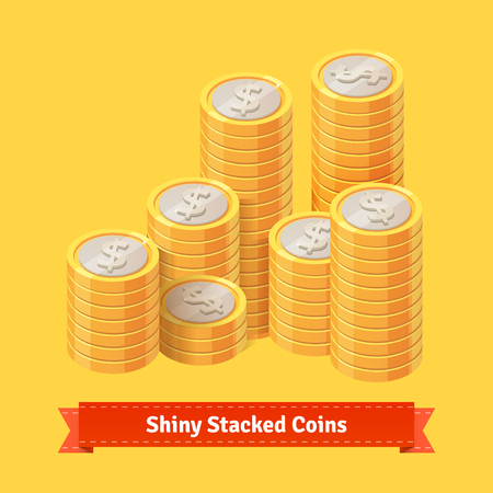golden coins: Pile of stacked gold coins. Flat style vector illustration.