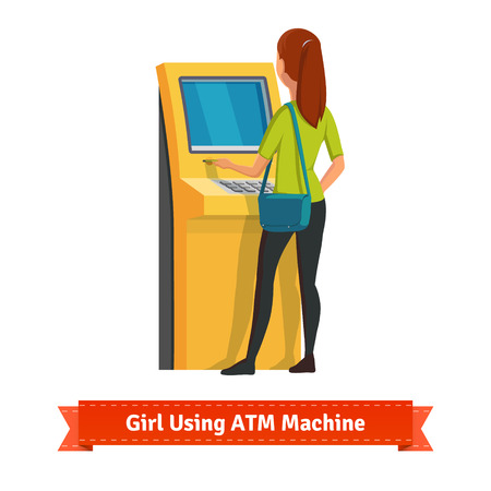 Girl at ATM machine doing deposit or withdrawal. Woman standing. Flat style vector icon. Illustration
