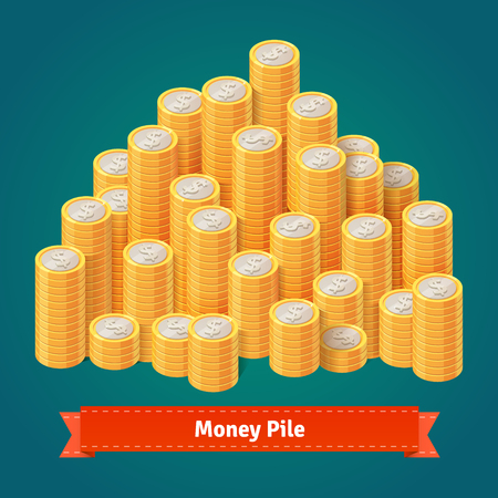 coins: Huge pile of stacked gold coins. Flat style vector illustration.