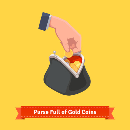 monedas antiguas: Human hand putting a coin to a retro money purse. Flat style vector illustration.