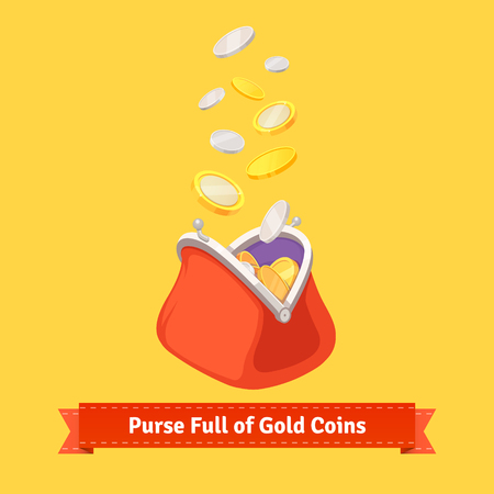 wallet: Coins falling to a retro money purse. Flat style vector illustration.