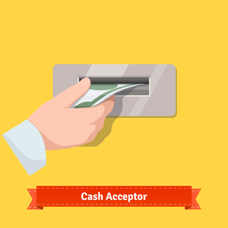 automatic teller machine bank: Human hand putting dollar banknote to a cash validator. Flat style vector icon.