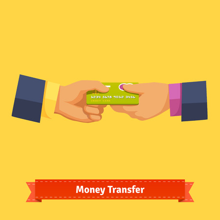 over paying: Passing plastic credit card from hand to hand. Business transaction concept. Flat style vector icon. Illustration