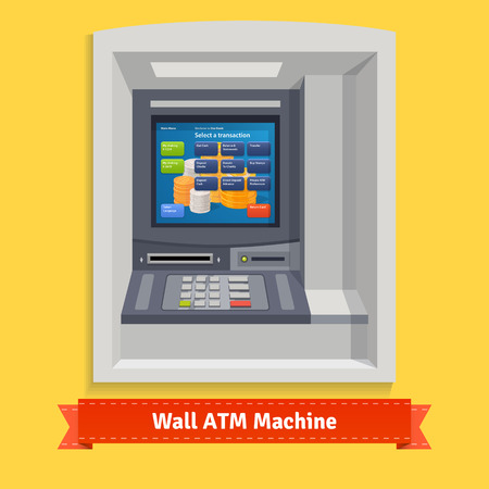 security monitor: Wall mounted outdoor ATM machine. Flat style vector illustration.