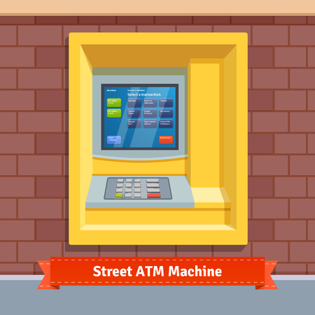 wall mounted: Brick wall mounted outdoor ATM machine. Flat style vector illustration.