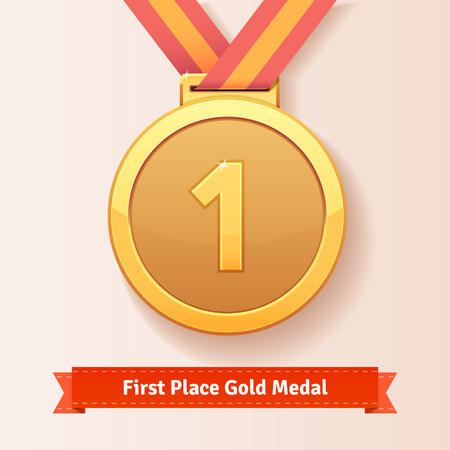 medal: First place award gold medal with red ribbon. Vector icon.