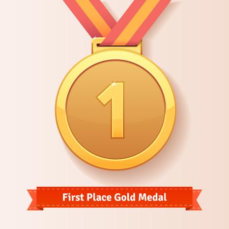 primer lugar: la concesión del lugar medalla primer oro con la cinta roja. Icono del vector. Vectores
