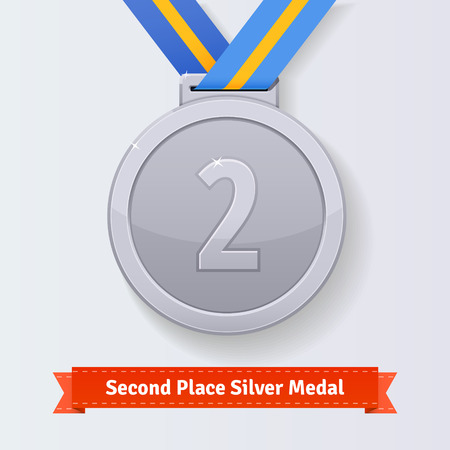 silver medal: Second place award silver medal with blue ribbon. Vector icon.