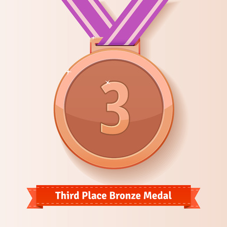 medal: Third place award bronze medal with lilac ribbon. Vector icon. Illustration