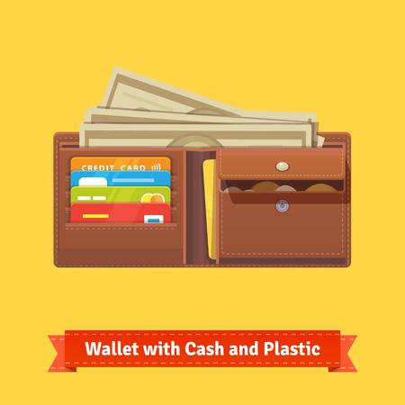 Carpeta de cuero con algo de dinero, tarjetas de crédito y monedero. Ilustración vectorial de estilo Flat.