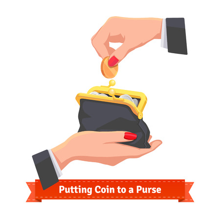 black hands: Woman hands putting coin to a black purse. Flat style vector illustration.