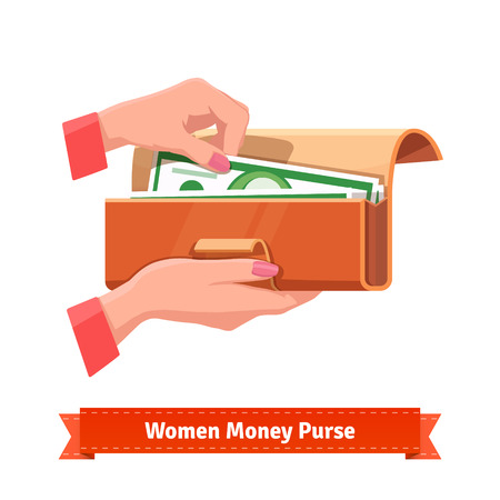 dollar sign: Beautiful woman hands with pink manicure taking out hundred dollar banknote from a purse. Flat style vector illustration.