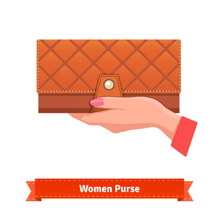 Beautiful woman hand with pink manicure holding luxury leather purse. Flat style vector illustration.