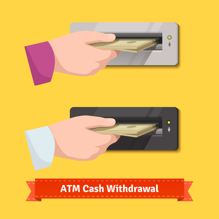 business sign: Human hand putting stack of dollar banknotes to an ATM cash validator. Flat style vector illustration. Illustration