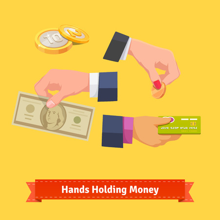 woman holding money: Set of hands holding money, banknote, coin and credit card. Flat style vector illustration.