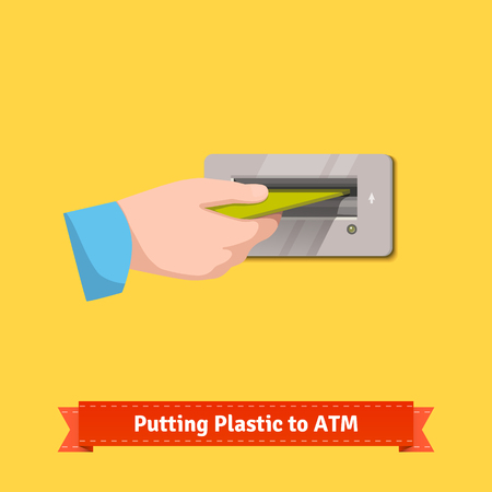 bankomat: Male hand putting plastic credit card to an ATM machine slot. Flat style vector illustration.
