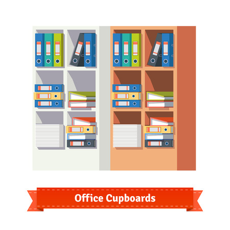 files: Office cupboards full of ring binders and papers. Flat style illustration or icon. EPS 10 vector. Illustration