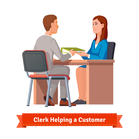ring binder: Office clerk working with customer. Woman giving a ring binder with documents to a man. Flat style illustration or icon. EPS 10 vector.