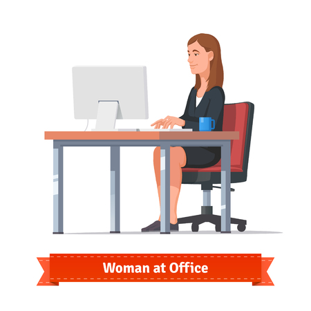 writing chair: Beautiful brunette woman working on a desktop at the modern office table. Flat style illustration or icon. EPS 10 vector.