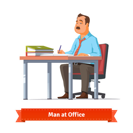 writing desk: Man writing at the office table. Flat style illustration or icon. EPS 10 vector.
