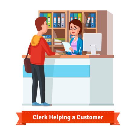 Assistant clerk working with customer. Woman handing a document to a young man. Flat style illustration or icon. EPS 10 vector. Illustration