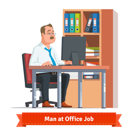 Man working on a computer at the office table behind a cupboard full of ring binders and papers. Flat style illustration or icon. EPS 10 vector.