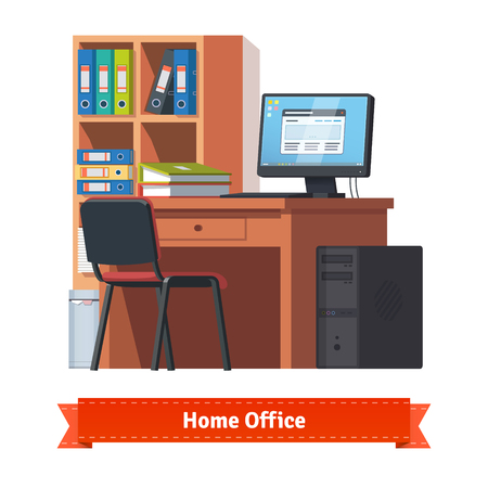 comfortable: Comfortable home workplace with desktop on the desk, chair and a bookcase. Flat style illustration or icon. EPS 10 vector.