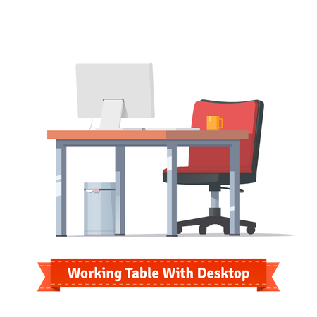 businesslike: Comfortable modern workplace with desktop, wheelchair and a trashcan. Flat style illustration or icon. EPS 10 vector. Illustration